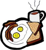 bacon, eggs, toast, coffee